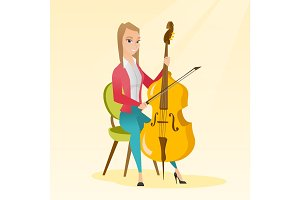 Woman playing the cello vector illustration.