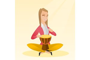 Woman playing the ethnic drum vector illustration.