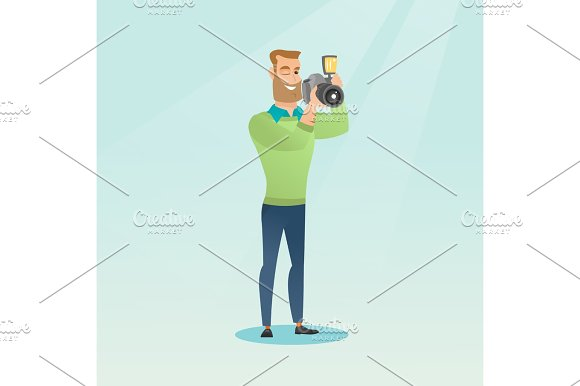 Photographer Taking A Photo Vector Illustration