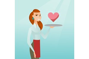 Waitress carrying a tray with a heart.