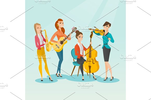 Band Of Musicians Playing Musical Instruments