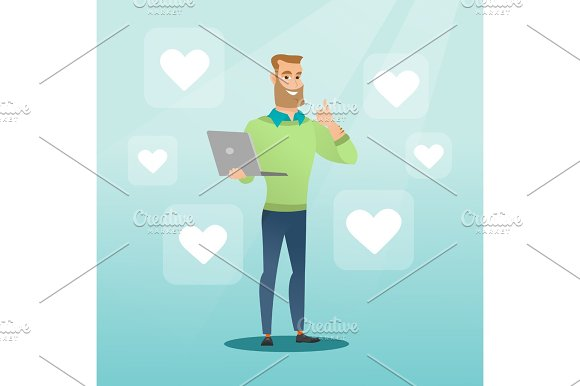 Man With Laptop And Heart Icons