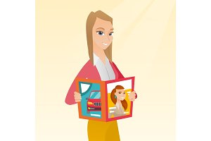 Woman reading magazine vector illustration.