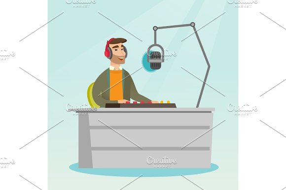 Dj Working On The Radio Vector Illustration