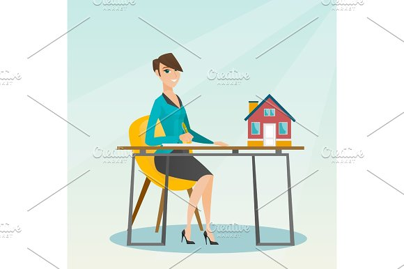 Real Estate Agent Signing Home Purchase Contract