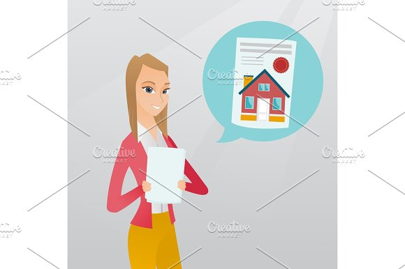 Woman Reading Real Estate Advertisement