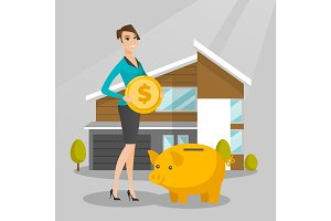 Woman saving money in piggy bank for buying house.