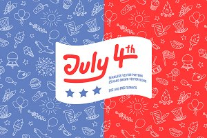 4th Of July Seamless Pattern And Ico