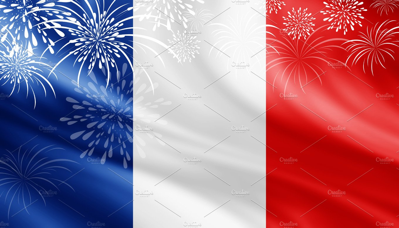 France flag with fireworks ~ Illustrations ~ Creative Market