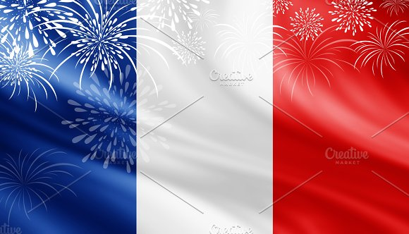 France Flag With Fireworks