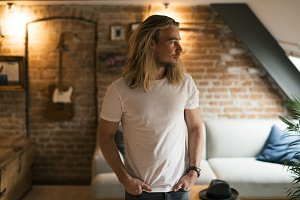 Man with long blond hair