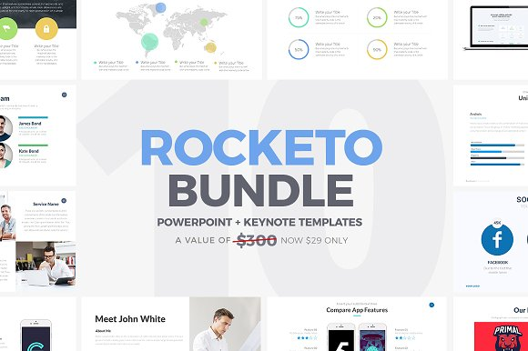 rocketo powerpoint keynote bundle presentation templates