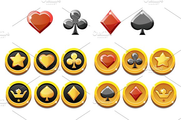 Vector Set Illustration Of Gold Icons And Coins Of Playings Card