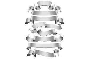 Silver glossy ribbons