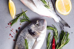 Fresh fishes with lemon,