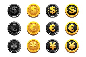 Cartoon set golden and black dollar, euro and yen coins