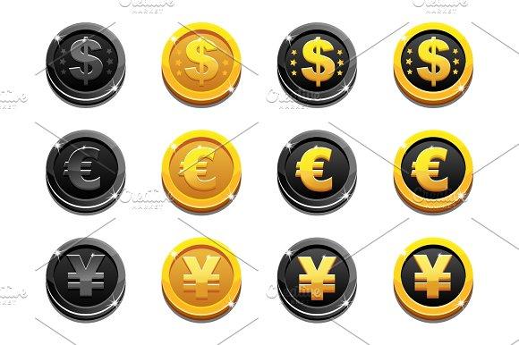 Cartoon Set Golden And Black Dollar Euro And Yen Coins