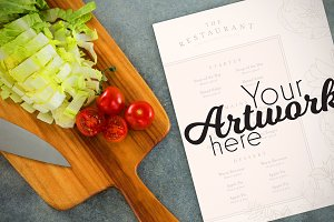 Menu With Salad Ingredients Mockup