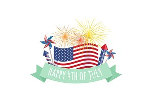 Happy 4th of July, Independence Day fireworks and flag with greating ribbon