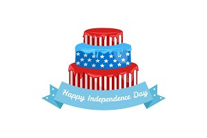 Happy 4th of July, Independence Day cake with stars and usa flag