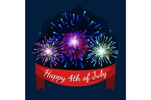 Happy 4th of July, Independence Day Vectoor fireworks with greating ribbon