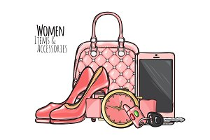 Women Items and Accessories. Pink Female Objects