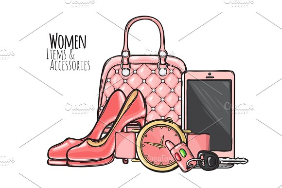 Women Items And Accessories Pink Female Objects