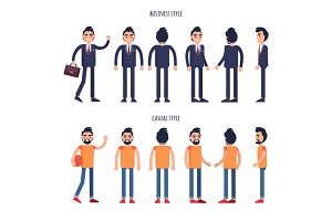 Business and Casual Styles Vector Poster with Men