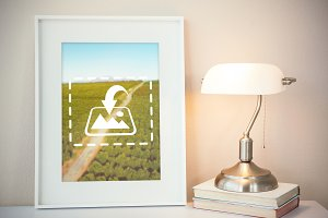 Framed Picture With Light Mockup