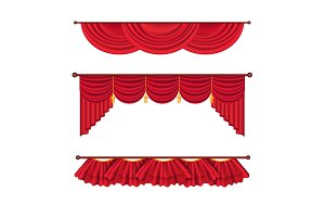 Wide Red Drapes and Lambrequins Vector Set