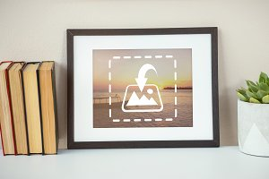 Framed Picture On Shelf Mockup