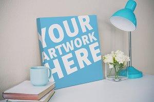 Canvas On Desk Mockup