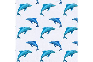 Watercolor dolphins pattern