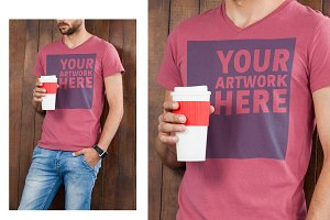Man With Graphic T-Shirt Mockup