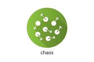 Chaos flat design long shadow glyph icon