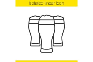 Beer glasses linear icon