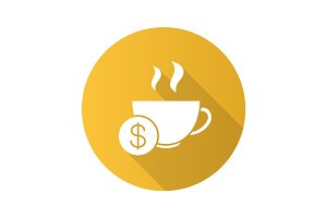 Buy cup of tea flat design long shadow glyph icon