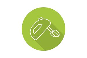 Hand mixer flat linear long shadow icon