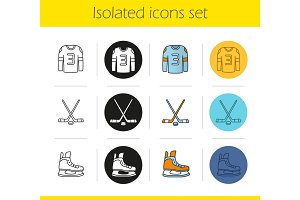 Ice hockey equipment icons set