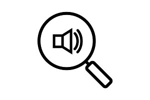 Magnifying glass with loudspeaker linear icon