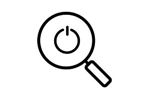 Magnifying glass with turn off button linear icon