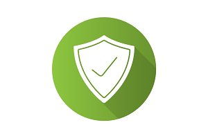 Security check flat design long shadow icon