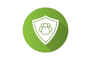 Users protection flat design long shadow icon