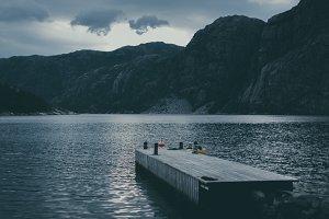 Boat landingstage at Fjord in Norway