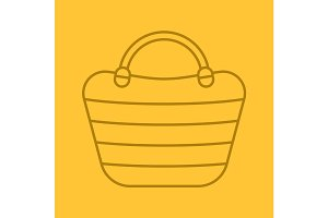 Beach bag color linear icon