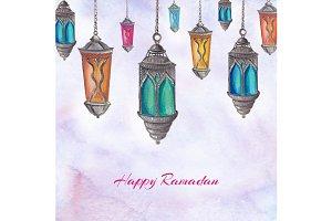 Watercolor Ramadan lamps