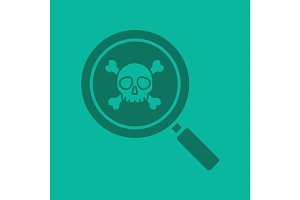 Magnifying glass with skull and crossbones glyph color icon