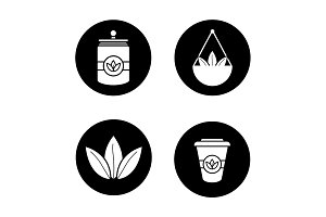 Tea glyph icons set