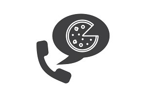 Pizza phone order glyph icon
