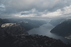 Moody Weather over Fjord Norway